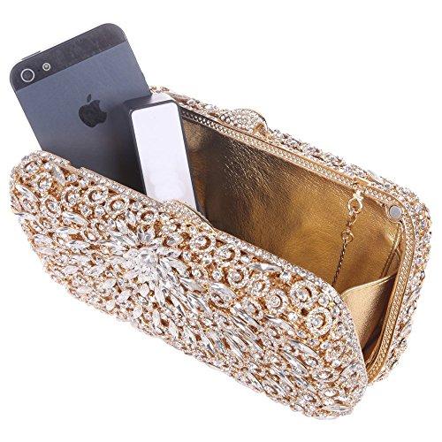 Damen Clutch Abendtasche Handtasche Geldbörse Glitzertasche Strass Kristall Einfach Tasche mit wechselbare Trageketten von Santimon(3 Kolorit) Gold