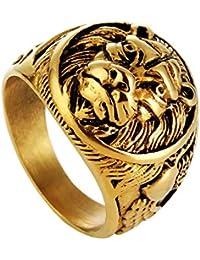 MYVIYSENY Joyas de Acero Inoxidable para Hombre de Titanio, Acero, Anillo de león,