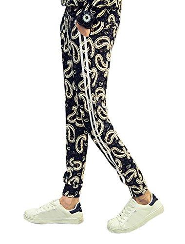 sourcingmap Hommes Taille Élastique Détail De Rayures Deux Poches Pantalon Décontracté noir-Paisleys
