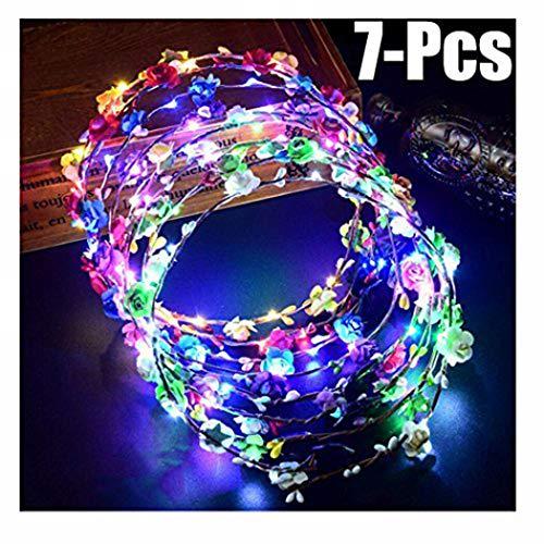 Funpa Led Blumenkranz, 7pcs Garland Stirnband Dekorative Leucht 10 LEDs Böhmen Blume Stirnband Kopfbedeckung Floral Crown Tiara Nacht Party Hochzeit Decor für...