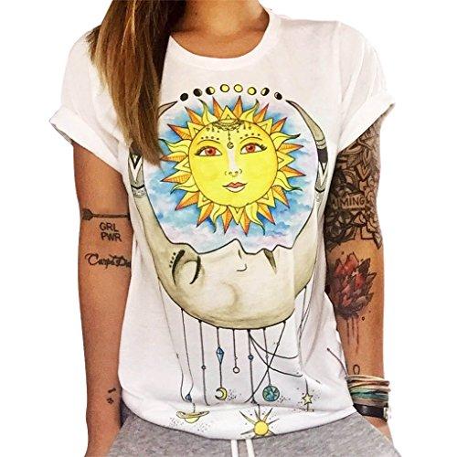 Qhgstore maglietta donne gufo lettere occhio maglietta della stampa allentata solido di colore girocollo a maniche corte no.5 l