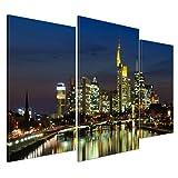 Kunstdruck - Frankfurt Skyline bei Nacht - Deutschland - Bild auf Leinwand - 100x60 cm 3 teilig - Leinwandbilder - Städte & Kulturen - Hessen - Hochhäuser - Messe - Börse