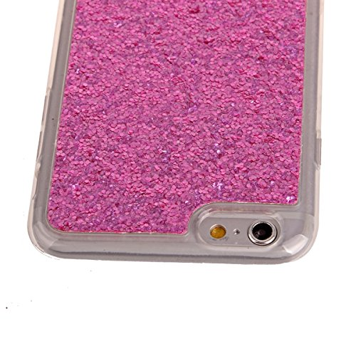 Custodia iphone 6S plus 5.5, Cover per iphone 6 plus Silicone, iphone 6S plus Glitter Cover, MoreChioce Moda Glitter Sparkle Bling bling Brillante Morbido 3d Gel TPU Silicone Gomma Cover Case Custodia C-Hot Pink