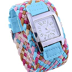 Fashion Candy Color Braided Plaited Rope Strap Wrap Quartz Lady Blue Wrist Watch