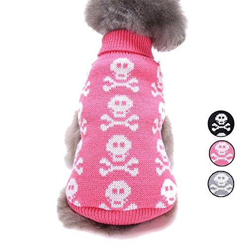 Gestrickte Schädel-HundeStrickjacke, 3 Muster-Feiertags-Halloween-Weihnachtshaustier-Kleidung, Strickwaren-Oberbekleidungs-Hundeweste für kleine Hunde und Katzen durch HongYH (Holiday Plaid Pyjama)