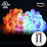 [Updated Version] S&G 43.6ft Globe String Lights,100 LED Multi Color 8 Lighting Modes Waterproof Indoor/Outdoor String Lights For Garden Patio Christmas Tree Parties (UL-Listed Power Adapter Included)