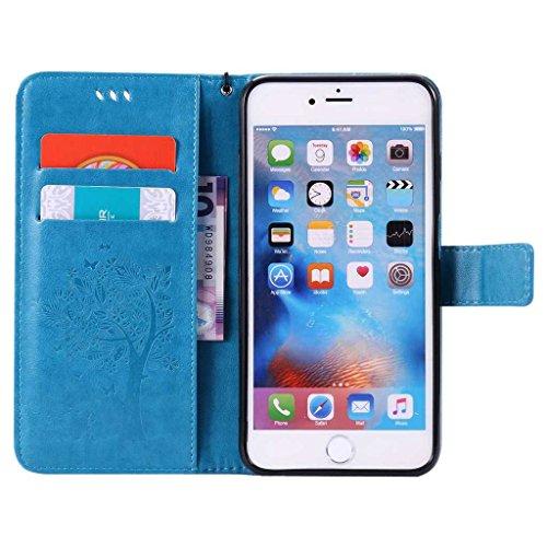 iPhone 4 / iPhone 4s Hülle [mit Frei Hartglas Displayschutzfolie], BoxTii® Ledertasche Lederhülle mit Bändselloch Kartenfächern, Kratzfeste Wickelfalz Weiche PU Leder Flip Wallet Case, Handyhülle Schu #5 Blau