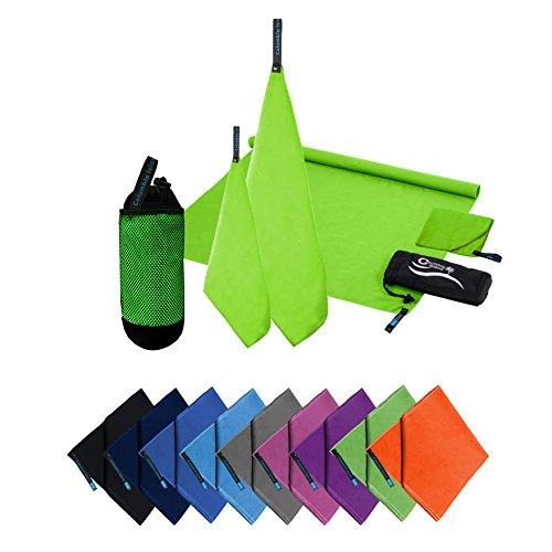 Microfaser Handtücher | 70x140cm + 30x50cm | Mikrofaser Handtuch schnelltrocknend Badehandtuch Reisehandtuch für Camping & Outdoor | Badetuch | Sport-Handtuch 2er Set Grün
