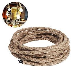 Leinen Elektrische Leitung 3 Adrig, 0,75mm² 5m Jahrgang Mantel-Leitung Gedreht Textilummanteltes Stoffkabel Stromkabel für Leuchten Industrie Hängelampe