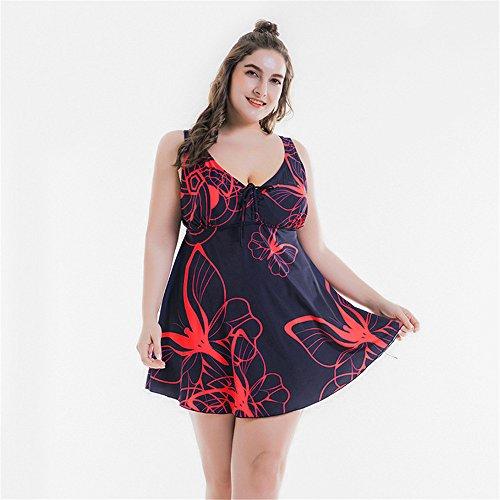 Schmetterling Kostüm Fett - Amadoierly Split Badeanzug Schmetterling Drucken großer Größe Bademode Frauen Plus Fett 300 Pfund, Rot, 72