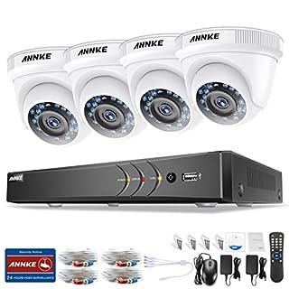 1080P Überwachungskamera System ANNKE 4CH 3MP TVI DVR ohne Festplatte und 4 Außen 1080P Dome Sternenlicht Überwachungskamera Set für Innen und Außen Bewegungsmelder IR Nachtsicht