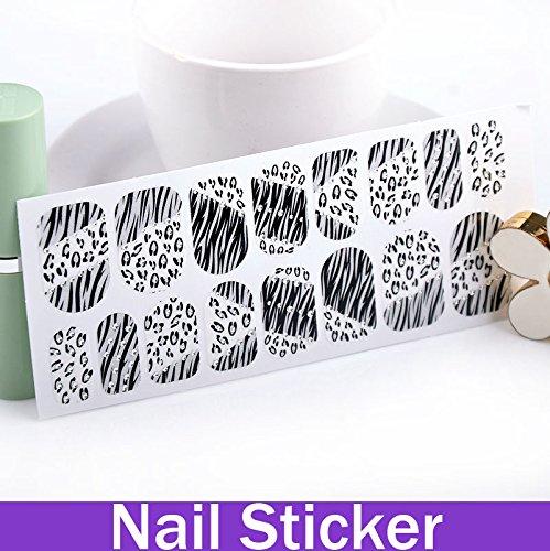 paxten (TM) facile DIY dentelle classique Glitter Sticker Fronzen doigt Nail Art Imprimé Léopard Et Zèbre