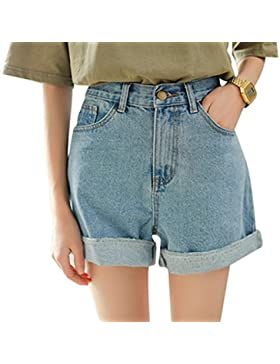 Minetom Estate Donna Moda Vita Alta Risvolto Jeans Shorts Brevi Hot Pants Distressed Pantaloncini Corti Denim...