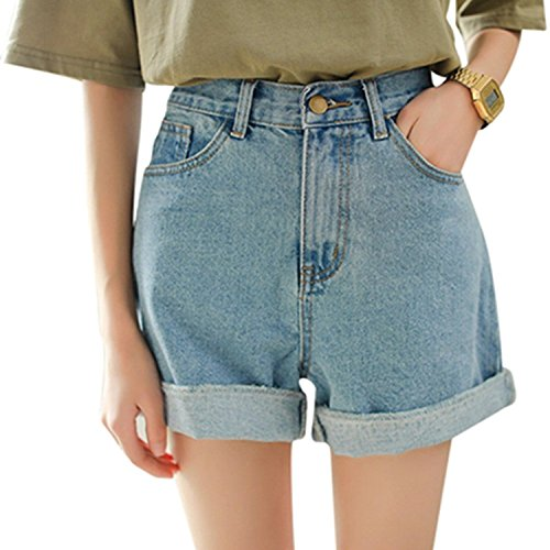 Minetom Frauen Damen Vintage Lose Lockere Baggy Denim Boyfriend Kurz Jeans Mini Hohe Taille Shorts Hot Pants Hose Kurzschlüsse Blau DE 34/Taille 65CM (Denim-mini Vintage)