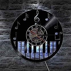 """Tema de música para piano Reloj de arte 12 """"(30 cm) - Reloj de pared de vinilo con creatividad retroactiva - 7 Colores de luz LED - Lámpara de pared con control remoto - Mecanismo silencioso - Disco d"""