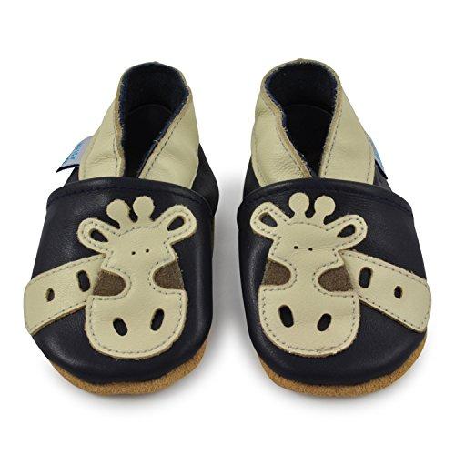 Juicy Bumbles - Weicher Leder Lauflernschuhe Krabbelschuhe Babyhausschuhe mit Wildledersohlen. Junge Mädchen Kleinkind 0-6 Monate 6-12 Monate 12-18 Monate 18-24 Monate Giraffe