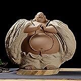 Grande Statue De Bouddha Laughing Pour La Bonne Fortune,Richesse Et Bonheur,Céramique Chinoise Grise Grand Ventre Figurine Maitreya Debout Pour Méditation Zen,Sculpture Faite Main Ornement Pour Déc