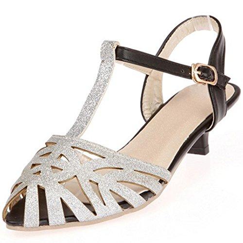 TAOFFEN Damen Klassischer Kitten-Heel Strappy T-Spange Slingback Sandalen Silber