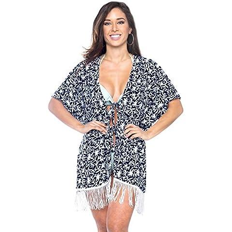 La Leela 4 en 1 vestido playa helecho encubrir mujeres traje baño cuello partido la rebeca la chaqueta cabo labró profundidad más vestido corto encogimiento traje baño la franja
