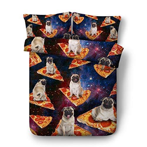 (CSYPYLE Kreativer Sternenklarer Hintergrund Bettwäsche-Set Hund Auf Dem Pizzamuster Bequeme Schlafzimmer-Blatt-Kissen-Kasten-Satz, Singen)