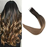 Full Shine 16 Pulgada 20 Piezas Dark Roots Ombre Color Dark Brown #2 Fading to #8 Balayage...