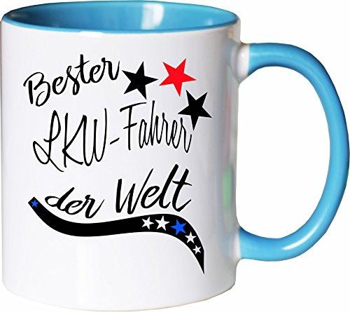 echer Tasse Bester LKW-Fahrer der Welt. Kaffee Kaffeetasse liebevoll Bedruckt Beruf Job Arbeit Weiß-Hellblau ()