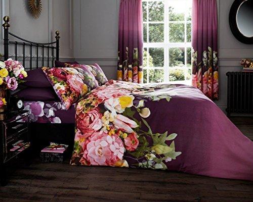 Linensrange Fadded Flower Aubergine Gedruckt Quilt Bettbezug Bettwäsche Set mit Kissen S/D/K/S.K (König) (König Bettbezug Bettwäsche-set)