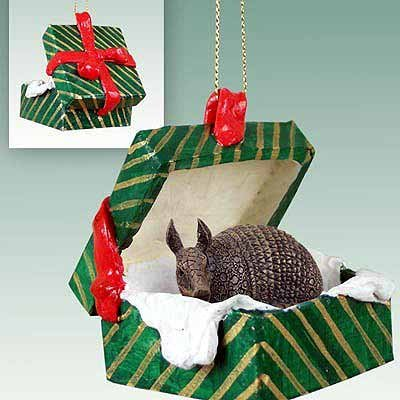 Armadillo Gift Box Christmas Ornament - DELIGHTFUL! by Conversation Concepts - Christmas Armadillo Ornament