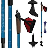 DENQBAR Nordic Walking Poles / Telescopic Trekking - Hiking sticks with anti shock (icy blue)