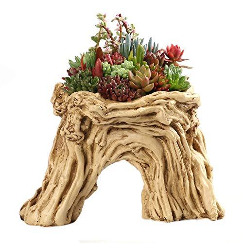 Smczy piantatrice succulente artificiale della piantatrice del vaso del driftwood torto resina della resina, nessuna piante