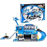 Halo Nation 54 Pcs Die CAST Modern Police Station Toy Set Big Size with Helicopter and Police Vehicle Bus 1:64 Scale