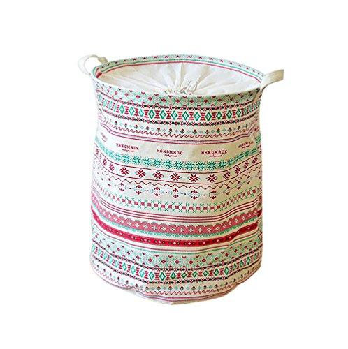 EchoFun Canvas Print Anker Wäschekorb Korb zylindrische Kordelzug Müllbeutel Spielzeug ordentlich Lagerung mit Griffe 35 x 45cm (Weiße Behindern Holz-wäscherei)