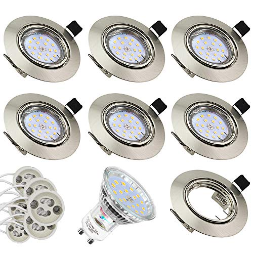 6 Pack Foco empotrable de techo blanco Downlight redondo integrado 3.5W 60SMD...