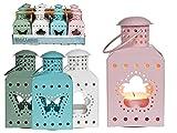 4er Set Metall Outdoor Laterne Garten Licht mit Schmetterling & Blumendekor