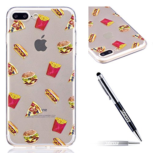 iPhone 7 Plus Custodia Transparente, iPhone 7 Plus Cover Silicone, JAWSEU Super Sottile Crystal Chiaro Custodia per Apple iPhone 7 Plus Bumper Corpeture Case Creativo Disegno Antiurto Anti-scratch Sho Patatine fritte