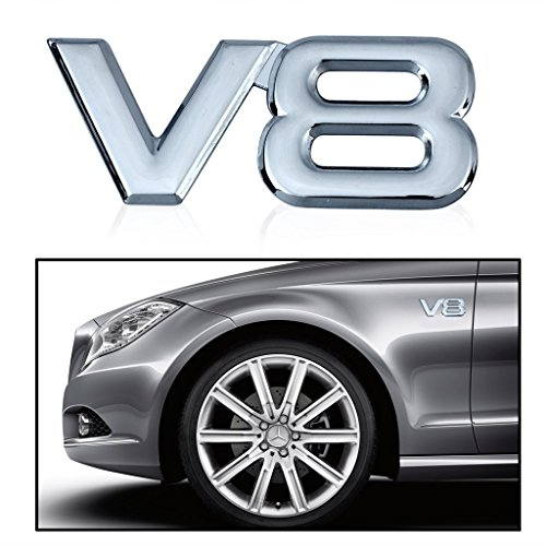 SKS Distribution® V8Auto coche Emblemas accesorios cromado emblema 3d insignia adhesivo 3m