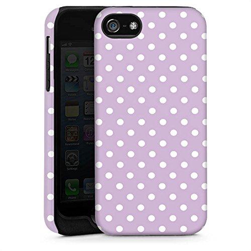 Apple iPhone 5 Housse Étui Silicone Coque Protection Points Lilas Polka Cas Tough brillant