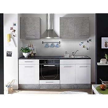 Küche mini küchenblock küchenzeile komplettküche 210cm singleküche miniküche kleinküche weiß grau beton