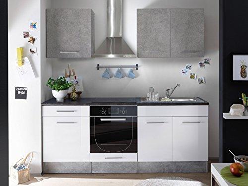 moebel-guenstig24.de Küche Mini Küchenblock Küchenzeile Komplettküche 210cm Singleküche Miniküche Kleinküche weiß grau Beton