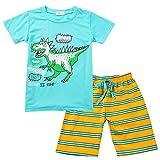 Tensay Kinder Kinder Jungs Mädchen Karikatur Dinosaurier Drucken Tops T-Shirt +Gestreift String Shorts Schlafanzug Set
