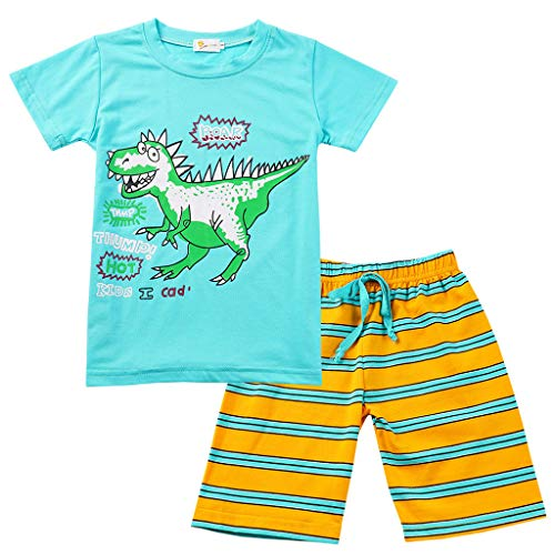 Tensay Kinder Kinder Jungs Mädchen Karikatur Dinosaurier Drucken Tops T-Shirt +Gestreift String Shorts Schlafanzug Set (Geburtstag 75. Mama Für Party-ideen)