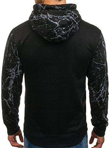 BOLF Herren Sweatshirt Pullover mit Kapuze mit Kordel Top AK72 Schwarz_DD160