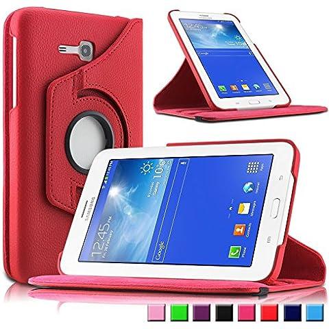 Infiland Samsung Galaxy Tab 3 7.0 Lite Funda Case-PU Cuero 360°Rotación Cover Cascara con Soporte para Samsung Galaxy Tab 3 7.0 Lite T110 T111 (7 Pulgadas)