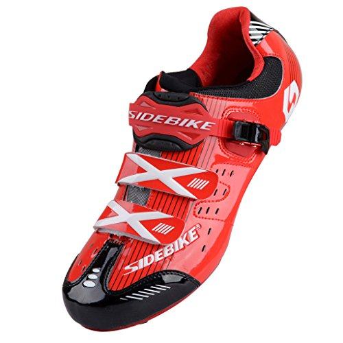 TXJ Uomini Donne Nuovo Scarpe Ciclismo Strada (Si Prega di Scegliere Una Taglia più Grande del Solito Indossare) (EU40, Rosso/Nero)