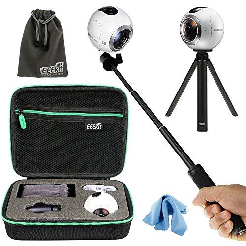 Kit todo en 1 de la marca EEEKit para Samsung Gearcon cámara esférica de 360 grados,carcasa de protección,funda de transporte,palo selfie,monopie y mini trípode[Clase de eficiencia energética A]
