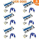 008S PCI-E Express 1x to 16x USB Riser adapter card Cable molex/6pin/Sata USB 3.1 Extension connector riser60cm-6Pack image