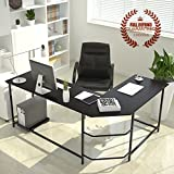 L-Shaped Corner Computer Desk Large Corner PC Laptop Study Table Workstation Home Office Wood & Metal, Black (Chair not Include)