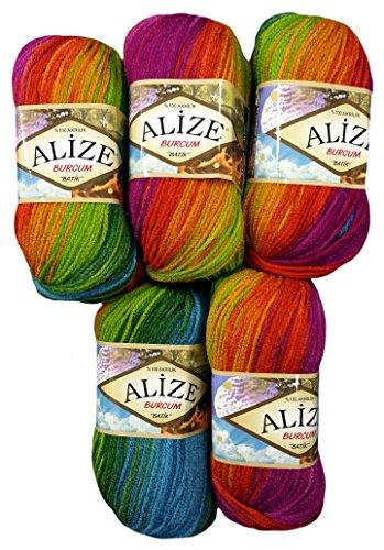 5 x 100 Gramm Alize Burcum Batik Wolle mehrfarbig mit Farbverlauf, 500 Gramm Strickwolle (bordeaux terra lila u.a. 3514)