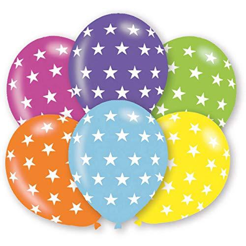 amscan 9901026 6 Latexballons Sterne, Bunt (Cool Duo Halloween-kostüme)