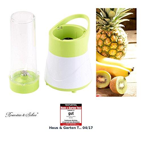 Rosenstein & Söhne Smoothie Mixer: 2in1-Smoothie- & Standmixer mit Trinkbecher, BPA-frei, 500 ml, 400 W (Smoothie Maker)